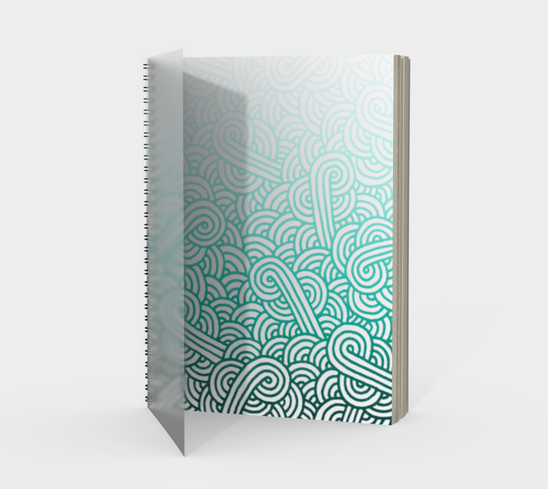 Gradient turquoise blue and white swirls doodles Spiral Notebook preview #1