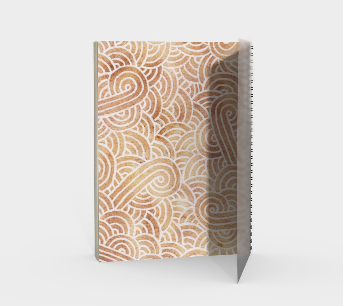 Iced coffee and white swirls doodles Spiral Notebook preview #2