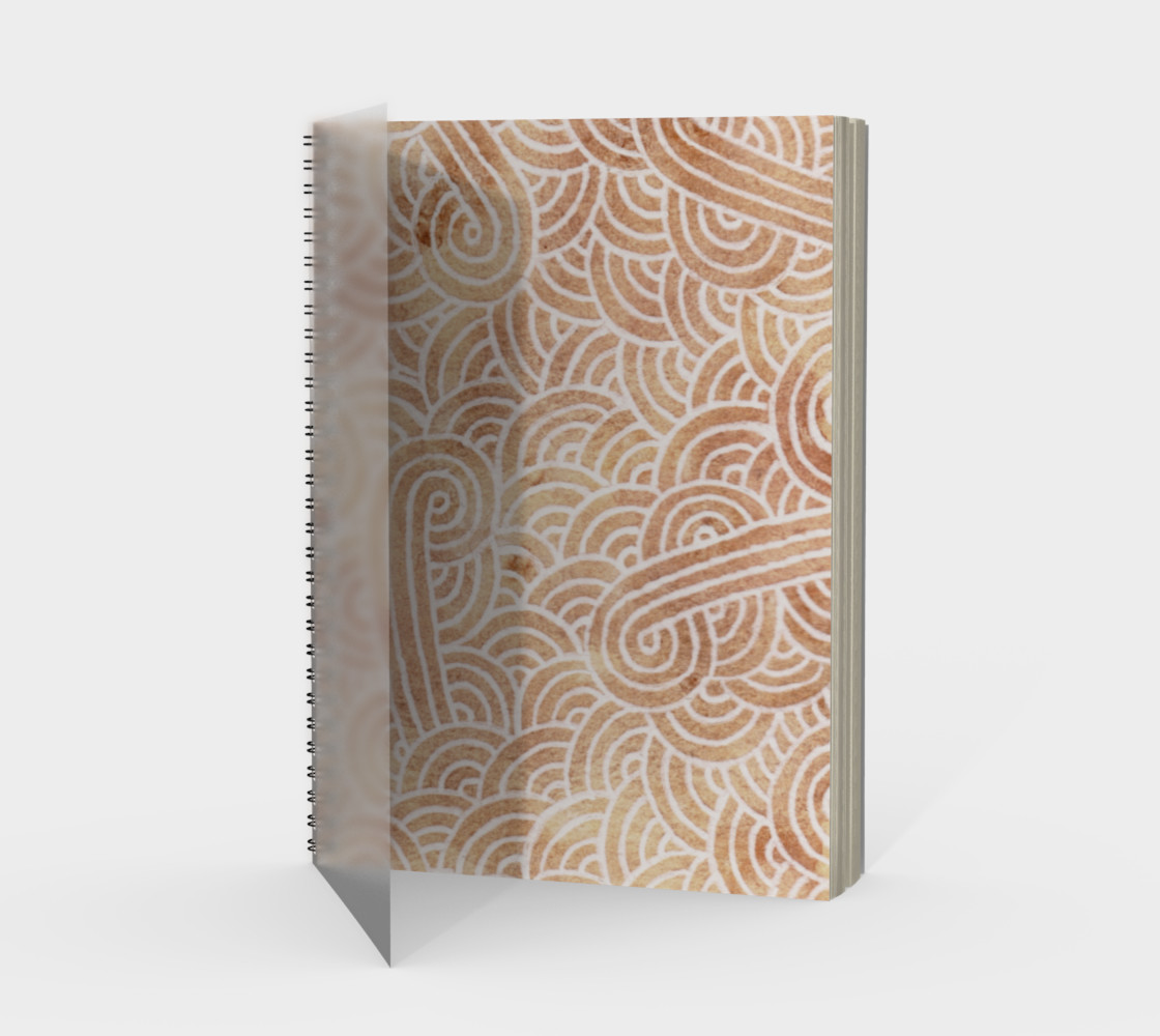 Iced coffee and white swirls doodles Spiral Notebook preview #1