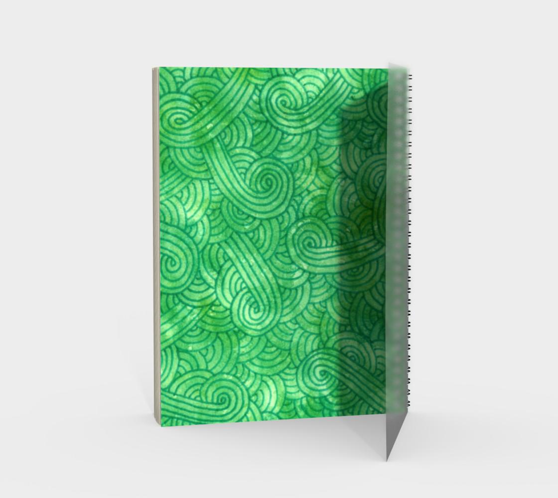 Bright green swirls doodles Spiral Notebook preview #2