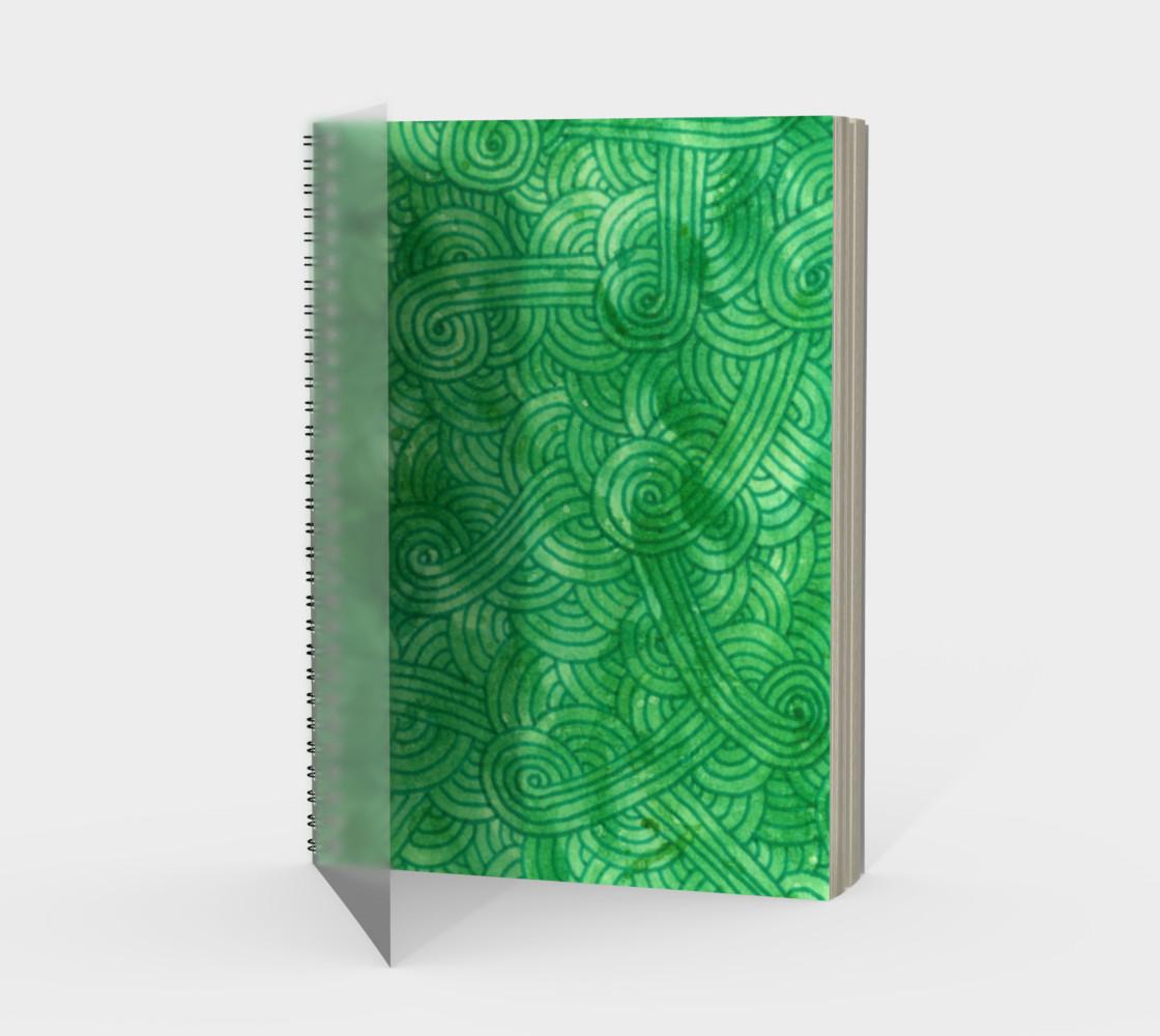 Bright green swirls doodles Spiral Notebook preview #1