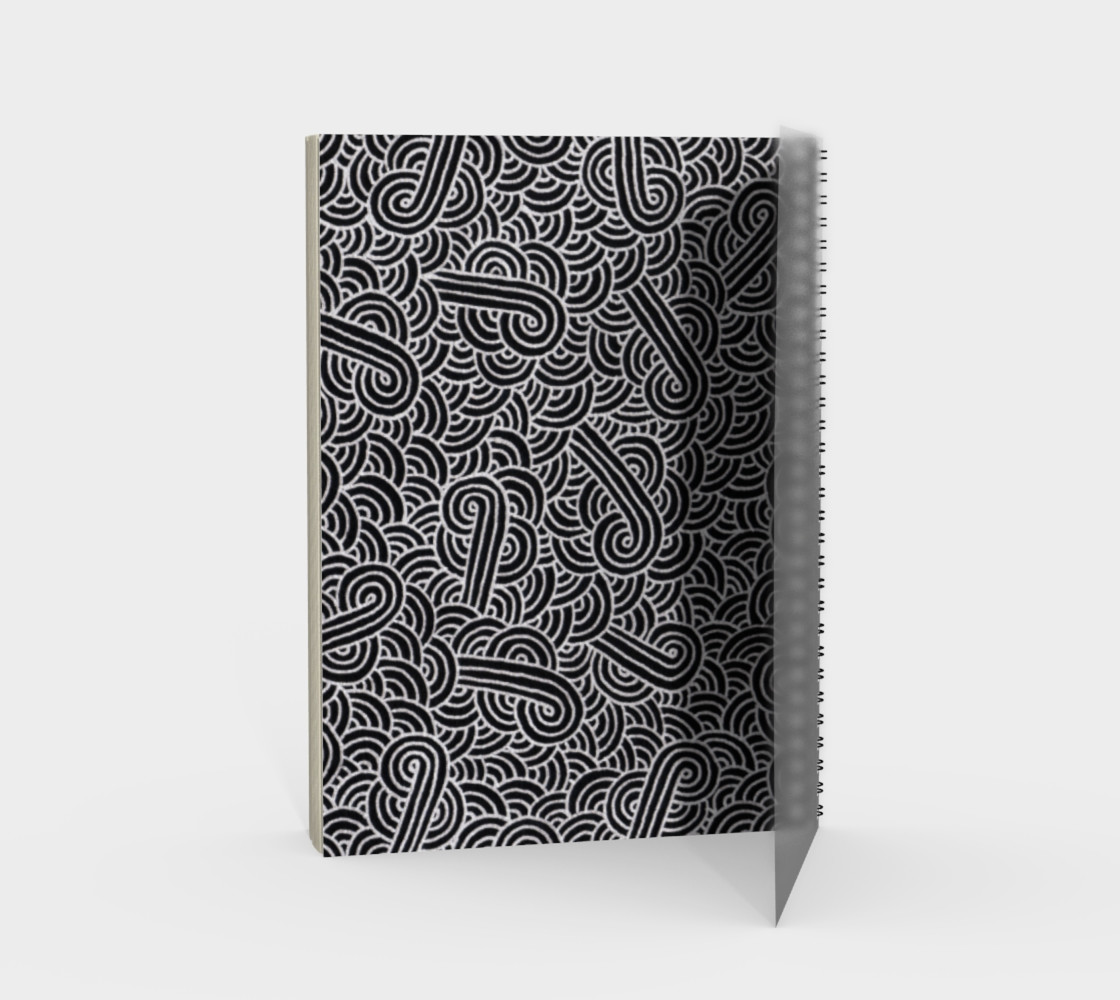 Faux silver and black swirls doodles Spiral Notebook preview #2