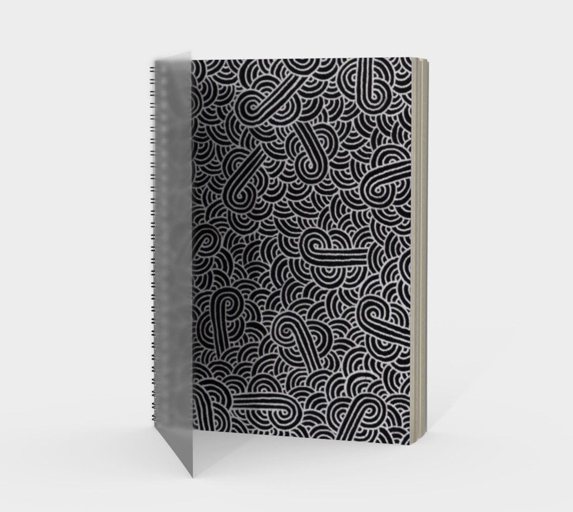 Faux silver and black swirls doodles Spiral Notebook preview #1
