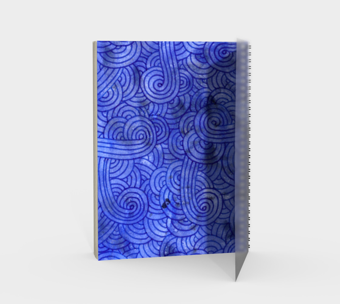 Royal blue swirls doodles Spiral Notebook preview #2