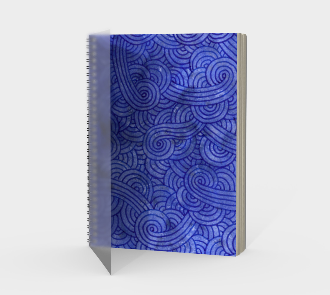 Royal blue swirls doodles Spiral Notebook 3D preview