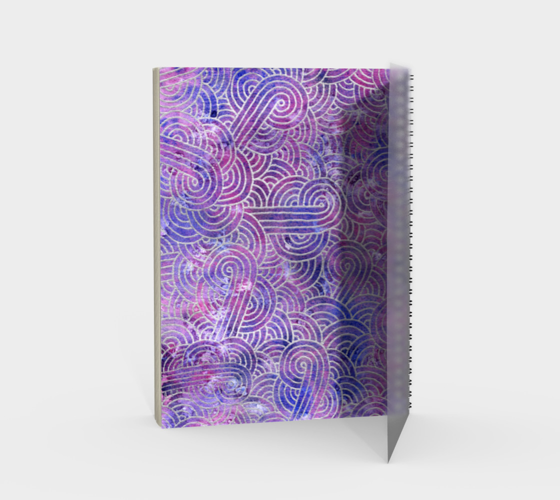 Purple and faux silver swirls doodles Spiral Notebook preview #2