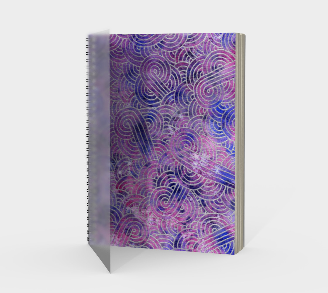 Purple and faux silver swirls doodles Spiral Notebook preview #1