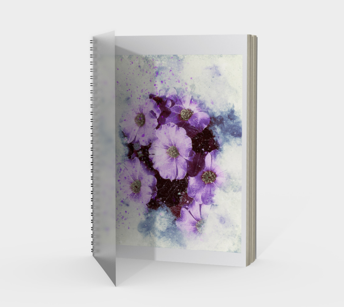 Six Purple Flowers Spiral Notebook preview #1
