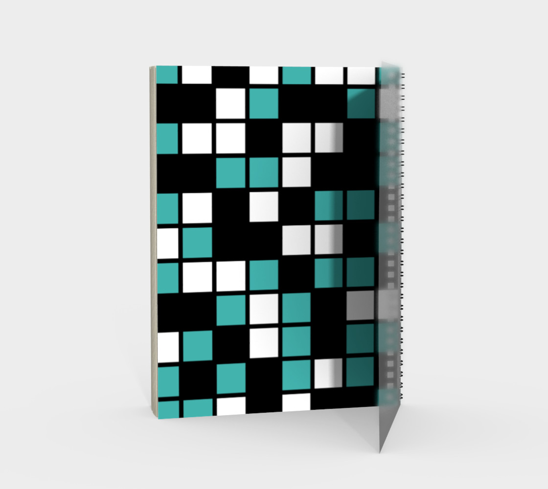 Verdigris, Black, and White Random Mosaic Squares preview #2