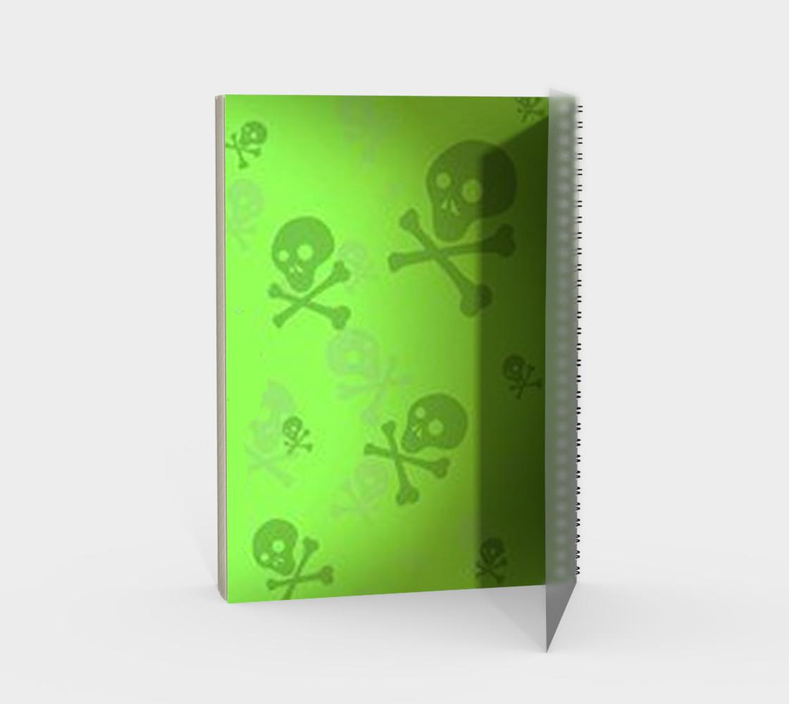 Cartoon Skull On Green Spiral Notebook preview #2