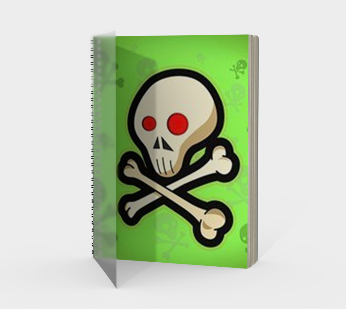 Cartoon Skull On Green Spiral Notebook preview #1