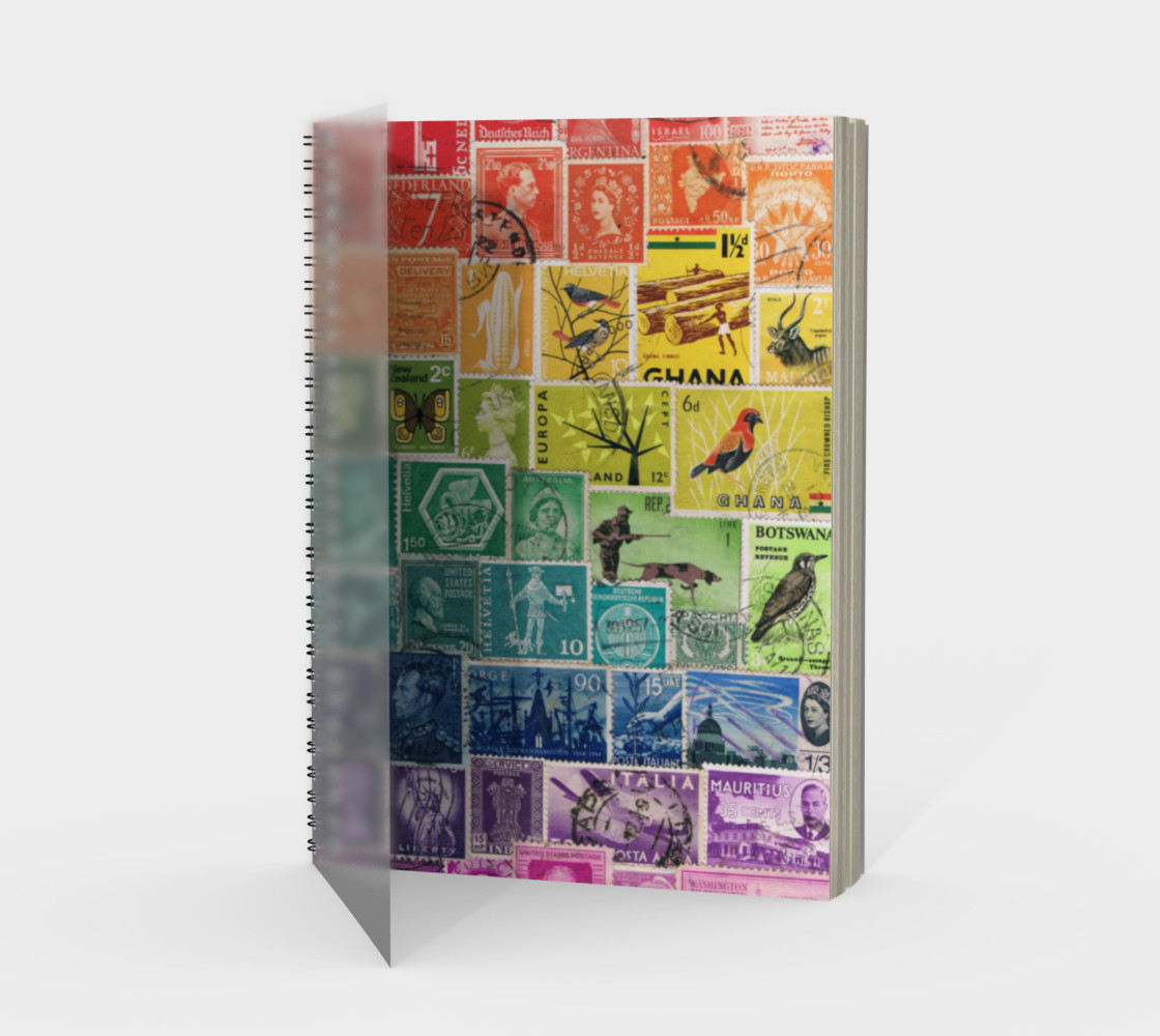 Rainbow Postage Stamp Spiral Journal preview #1