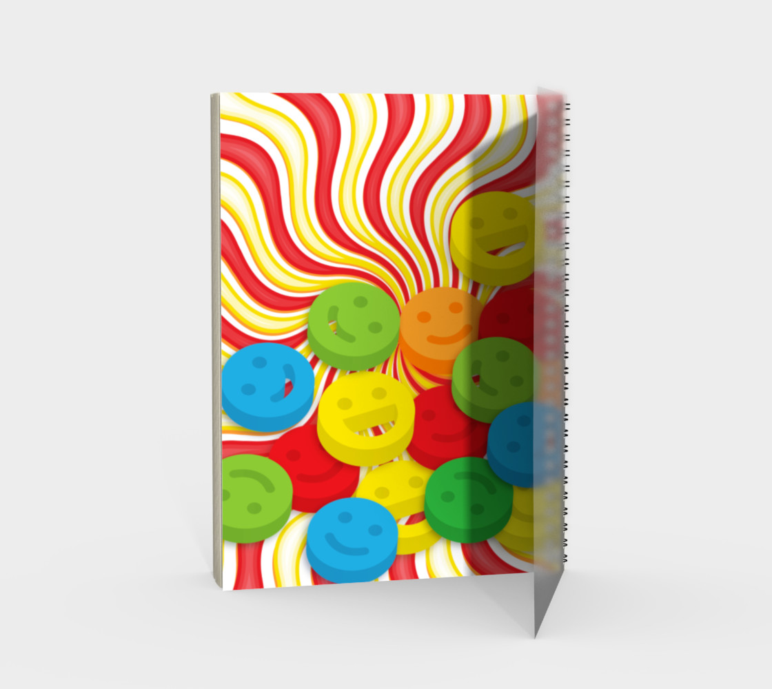 Rainbow Candy Swirls and Smiley Face Emojis Spiral Notebook preview #2