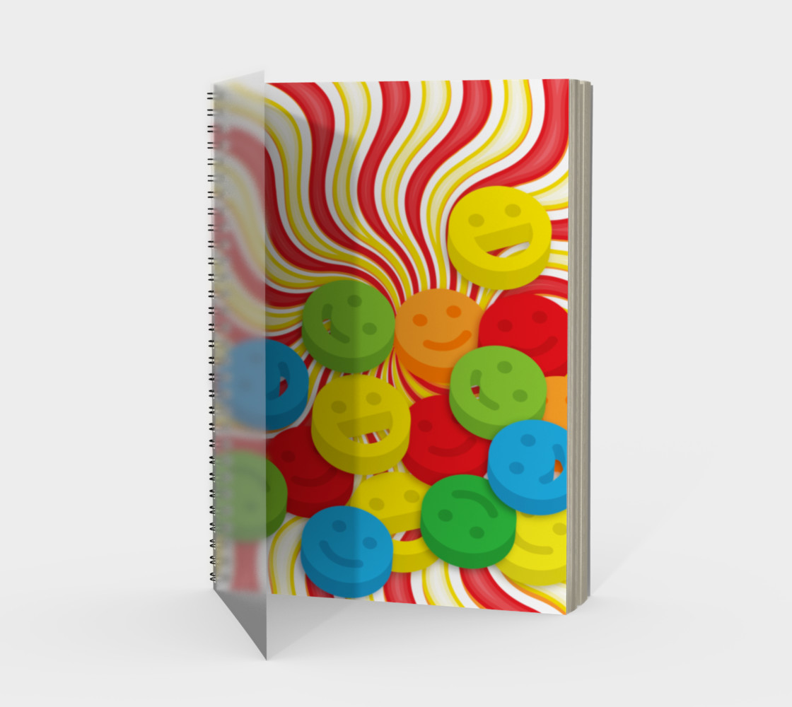 Rainbow Candy Swirls and Smiley Face Emojis Spiral Notebook preview #1