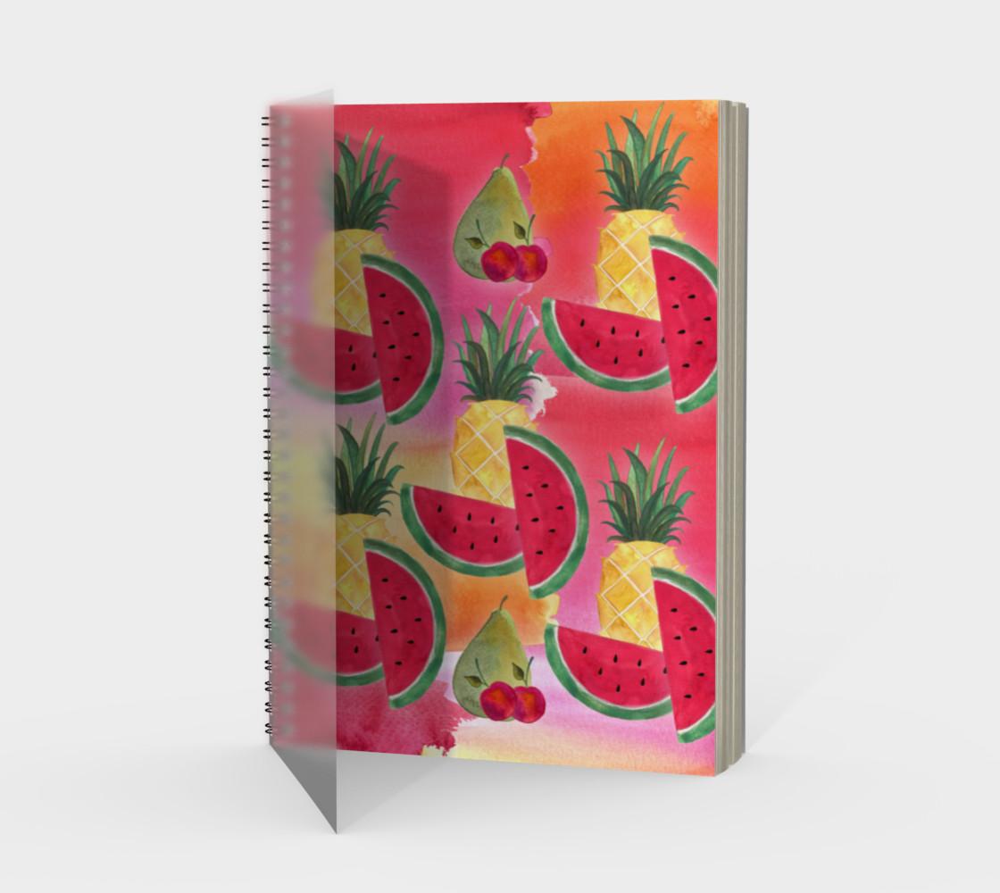 Aperçu de Watercolor Fruit Watermelon Pineapple Pear Cherry Spiral Notebook #1