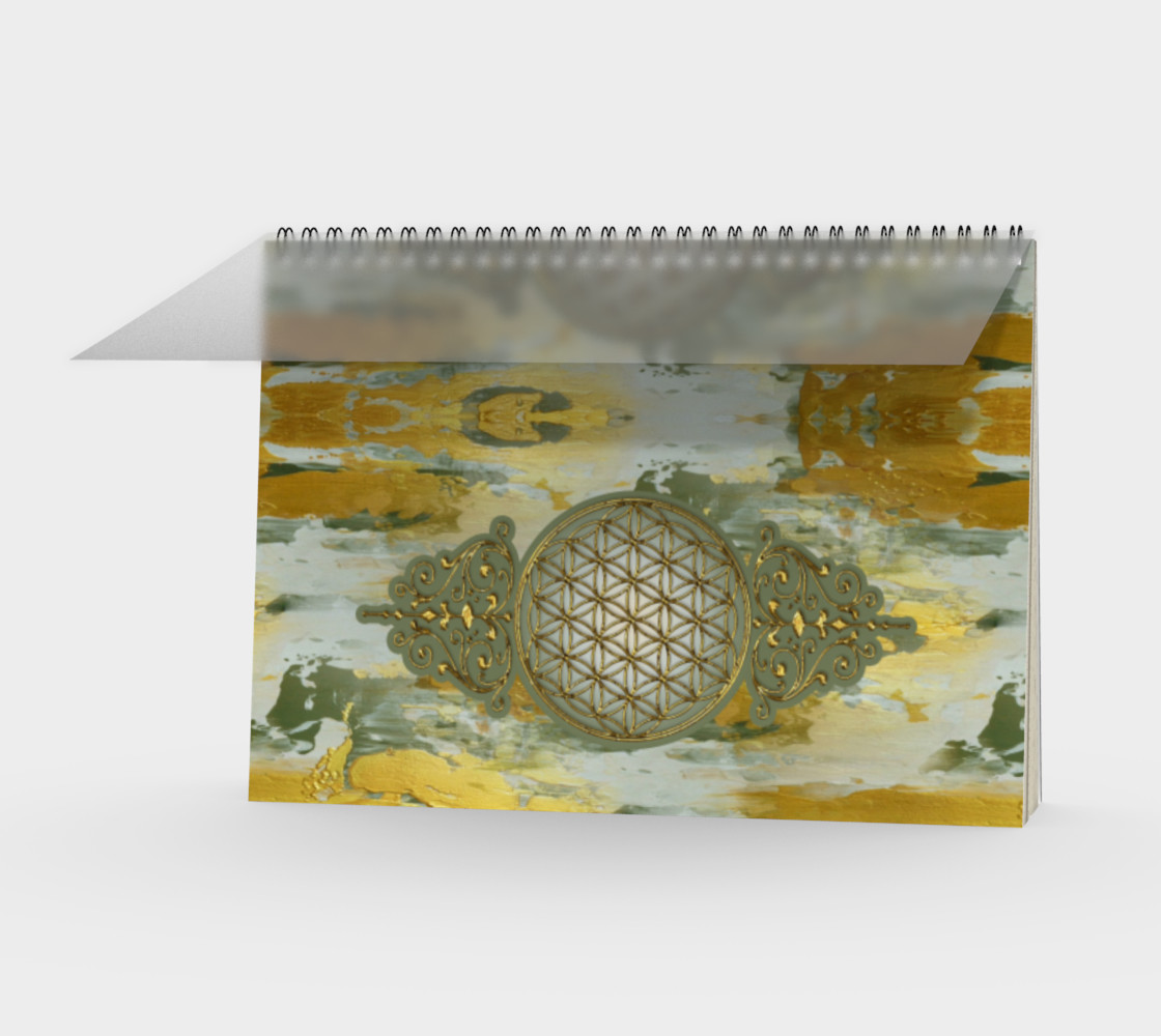 Aperçu de Sacred Geometry Flower Of Life - Vintage Gold Painting Vertical #1