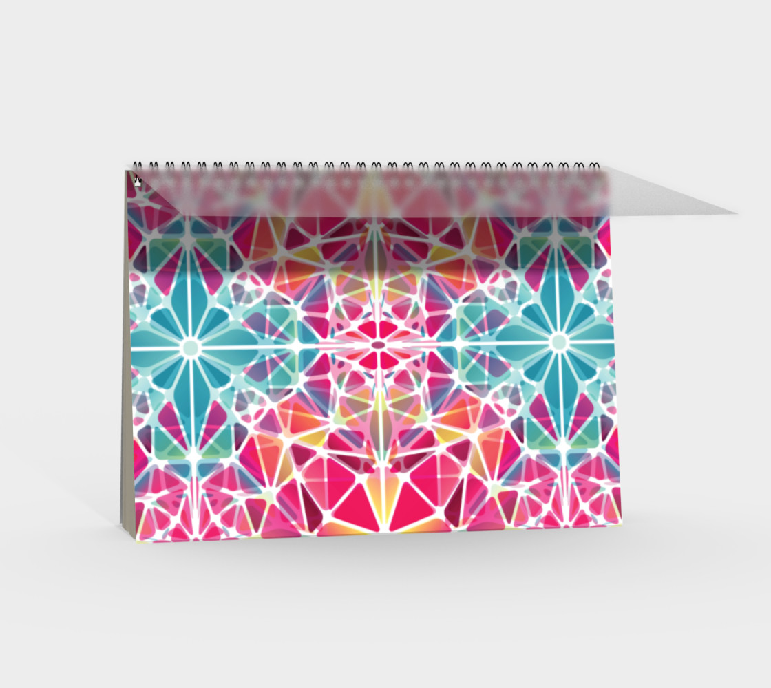 Pink and Blue Kaleidoscope Spiral Notebook - Landscape preview #2