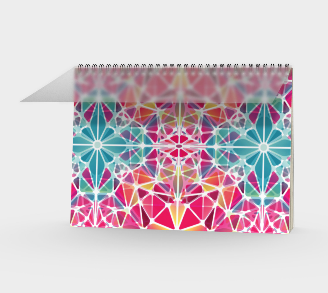 Pink and Blue Kaleidoscope Spiral Notebook - Landscape preview #1