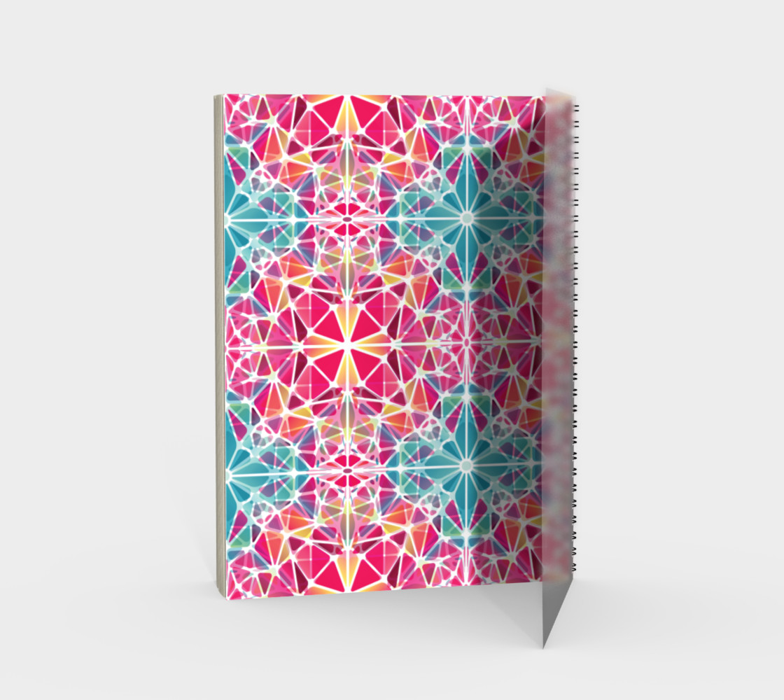 Pink and Blue Kaleidoscope Spiral Notebook - Portrait preview #2