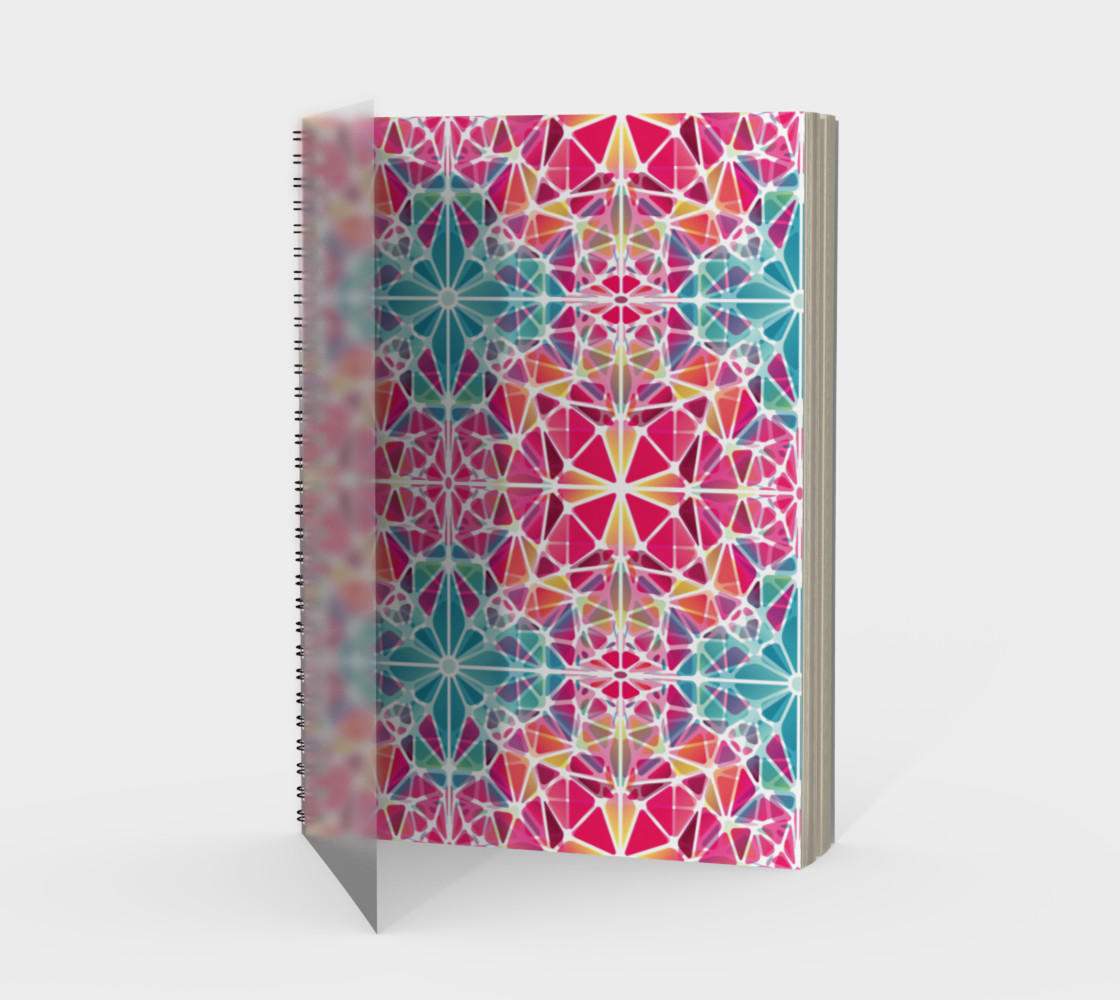 Pink and Blue Kaleidoscope Spiral Notebook - Portrait preview #1