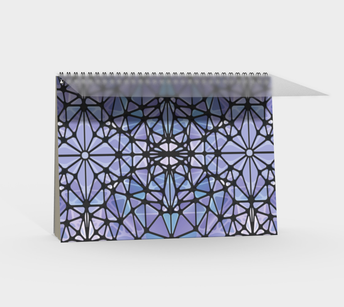 Purple and Blue Kaleidoscope Spiral Notebook - Landscape preview #2