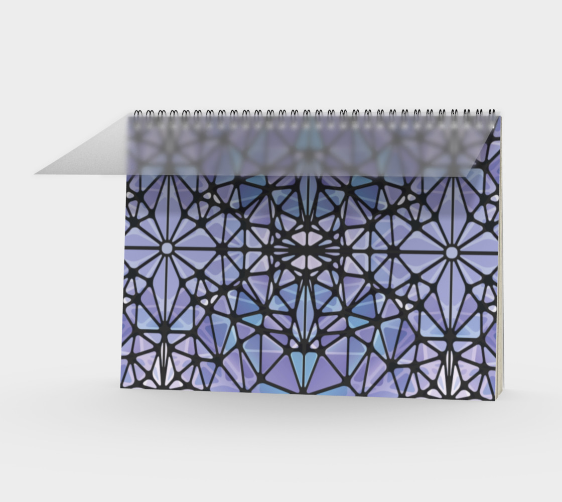Purple and Blue Kaleidoscope Spiral Notebook - Landscape preview #1