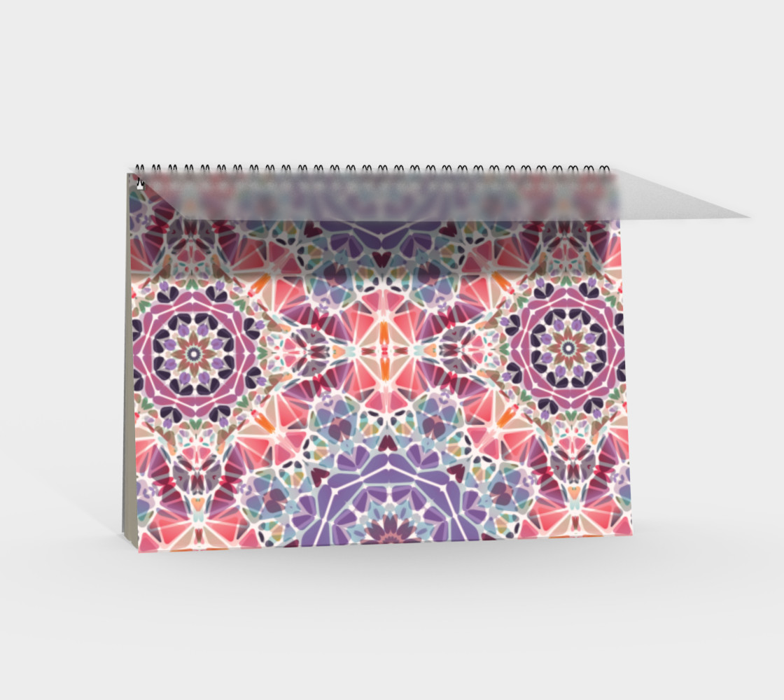 Purple and Pink Kaleidoscope Spiral Notebook - Landscape preview #2