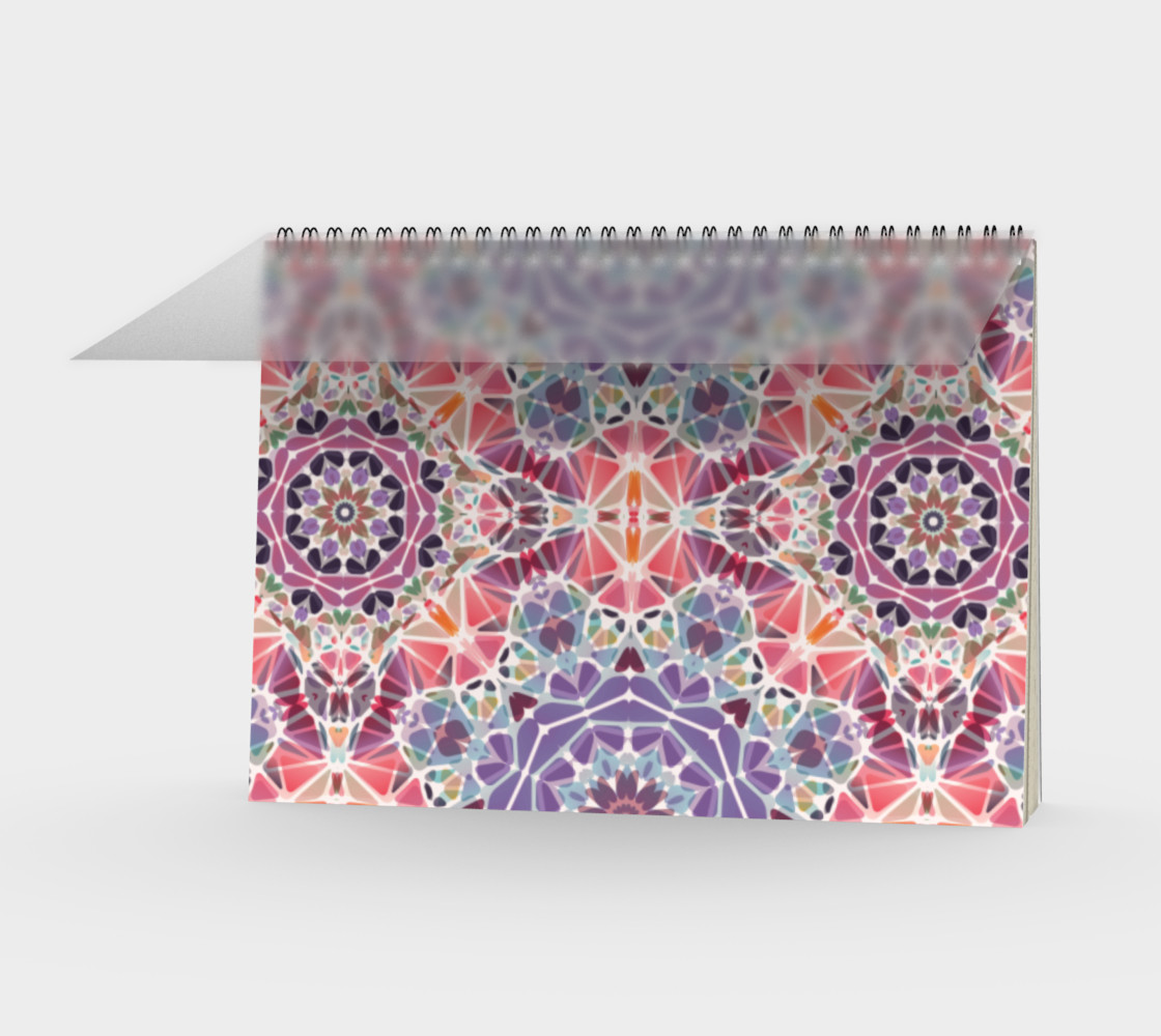 Purple and Pink Kaleidoscope Spiral Notebook - Landscape preview #1