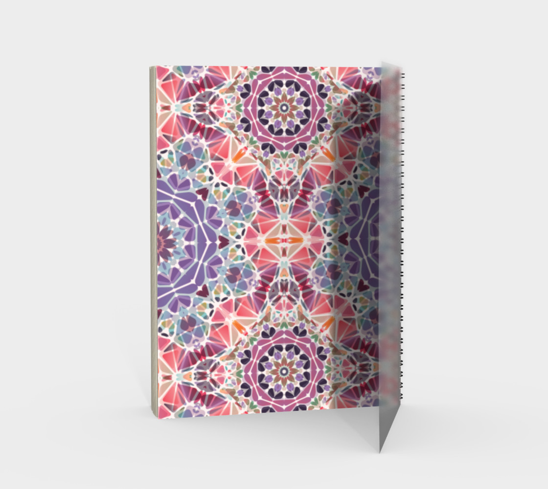 Purple and Pink Kaleidoscope Spiral Notebook - Portrait preview #2
