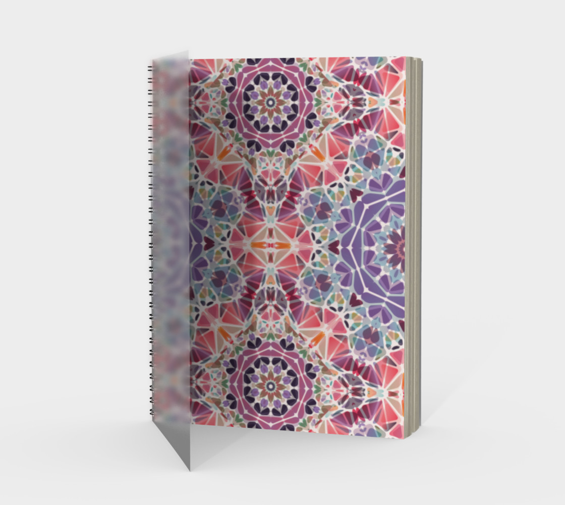 Purple and Pink Kaleidoscope Spiral Notebook - Portrait preview #1