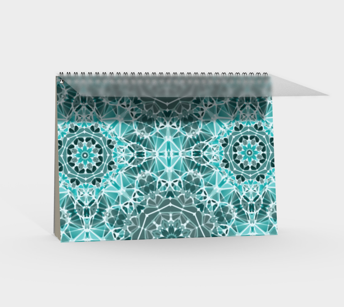 Turquoise & Gray Kaleidoscope Spiral Notebook - Landscape preview #2
