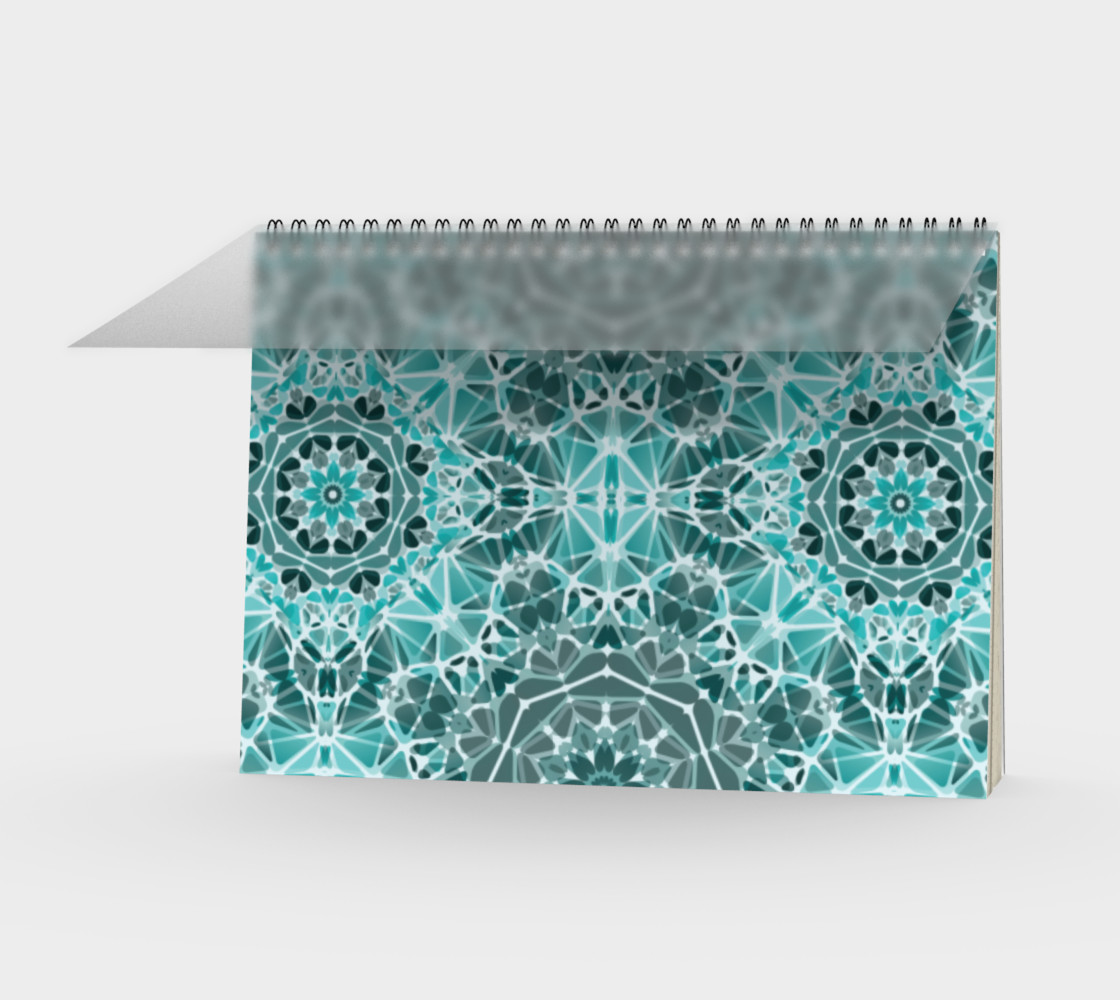 Turquoise & Gray Kaleidoscope Spiral Notebook - Landscape preview #1