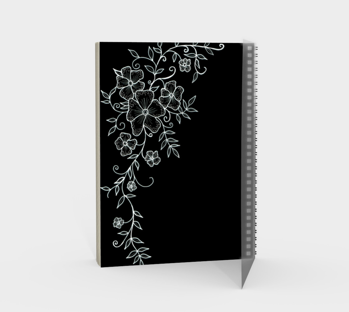 Black and White Floral Ornaments Spiral Notebook preview #2