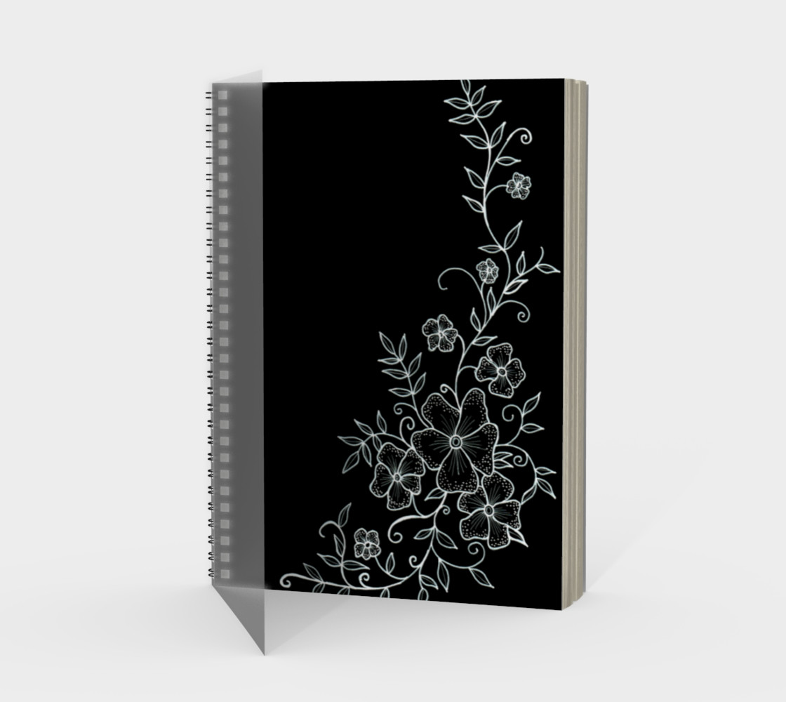 Black and White Floral Ornaments Spiral Notebook preview #1
