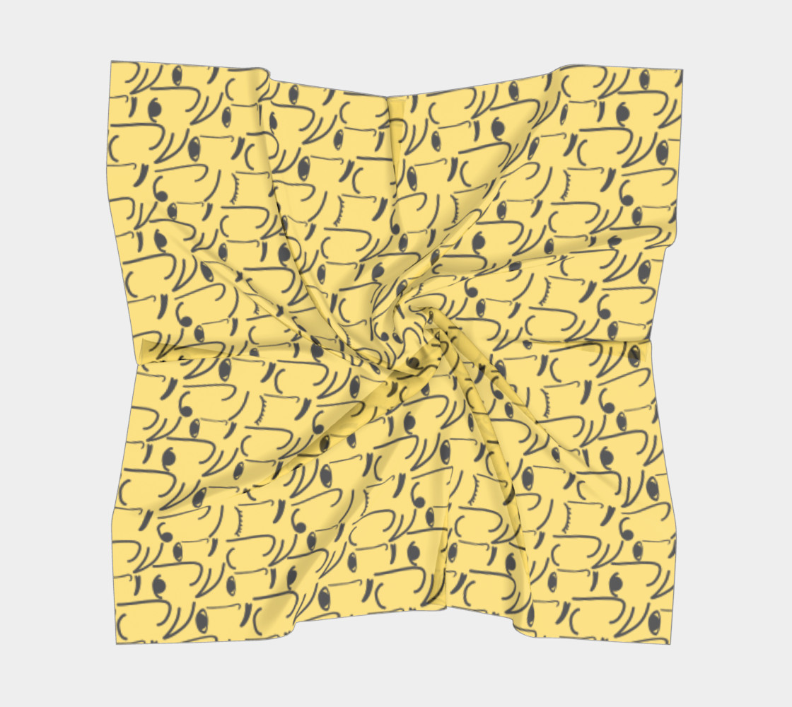 Golden Yellow Doodle Art Smiling Side Faces preview #5