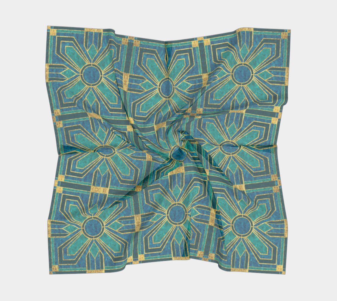 Art Deco Floral Tiles in Turquoise and Blue preview #5