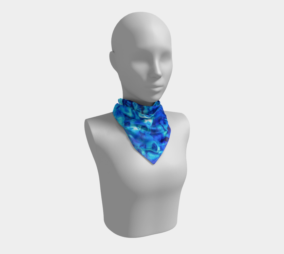 Glistening Blue Water Texture Big Square scarf Miniature #2
