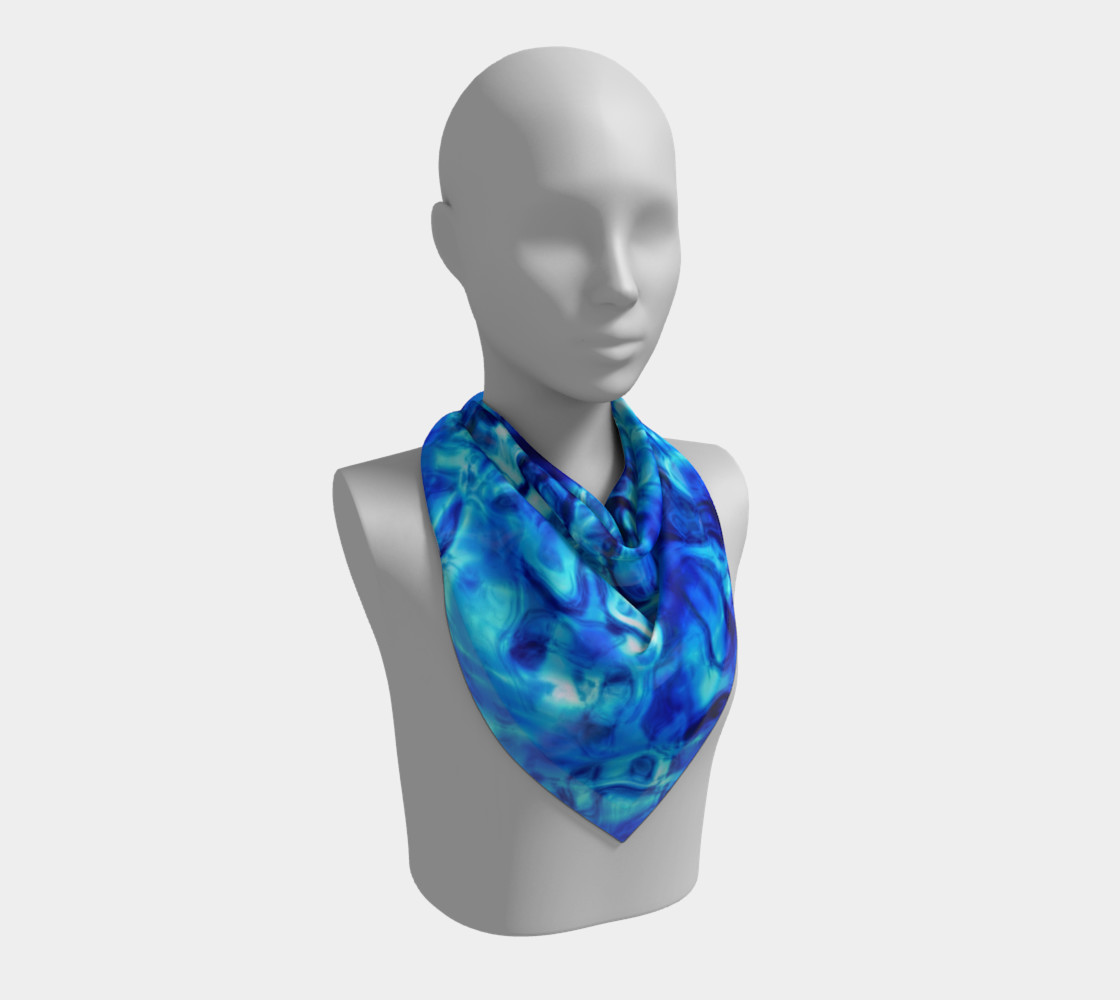 Glistening Blue Water Texture Big Square scarf Miniature #3
