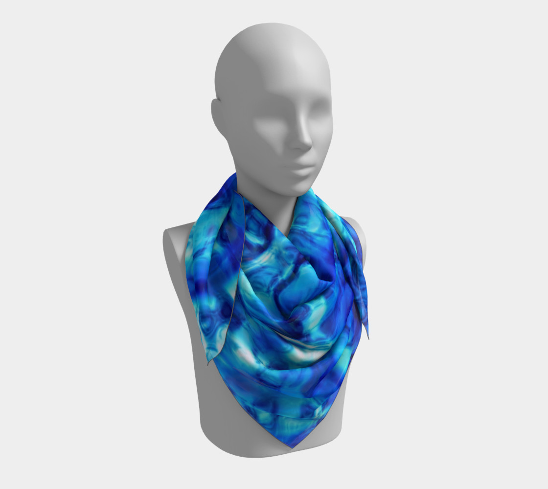Glistening Blue Water Texture Big Square scarf Miniature #4