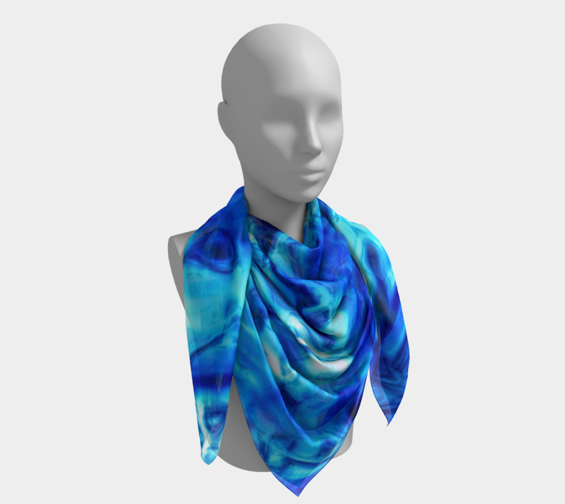 Glistening Blue Water Texture Big Square scarf Miniature #5