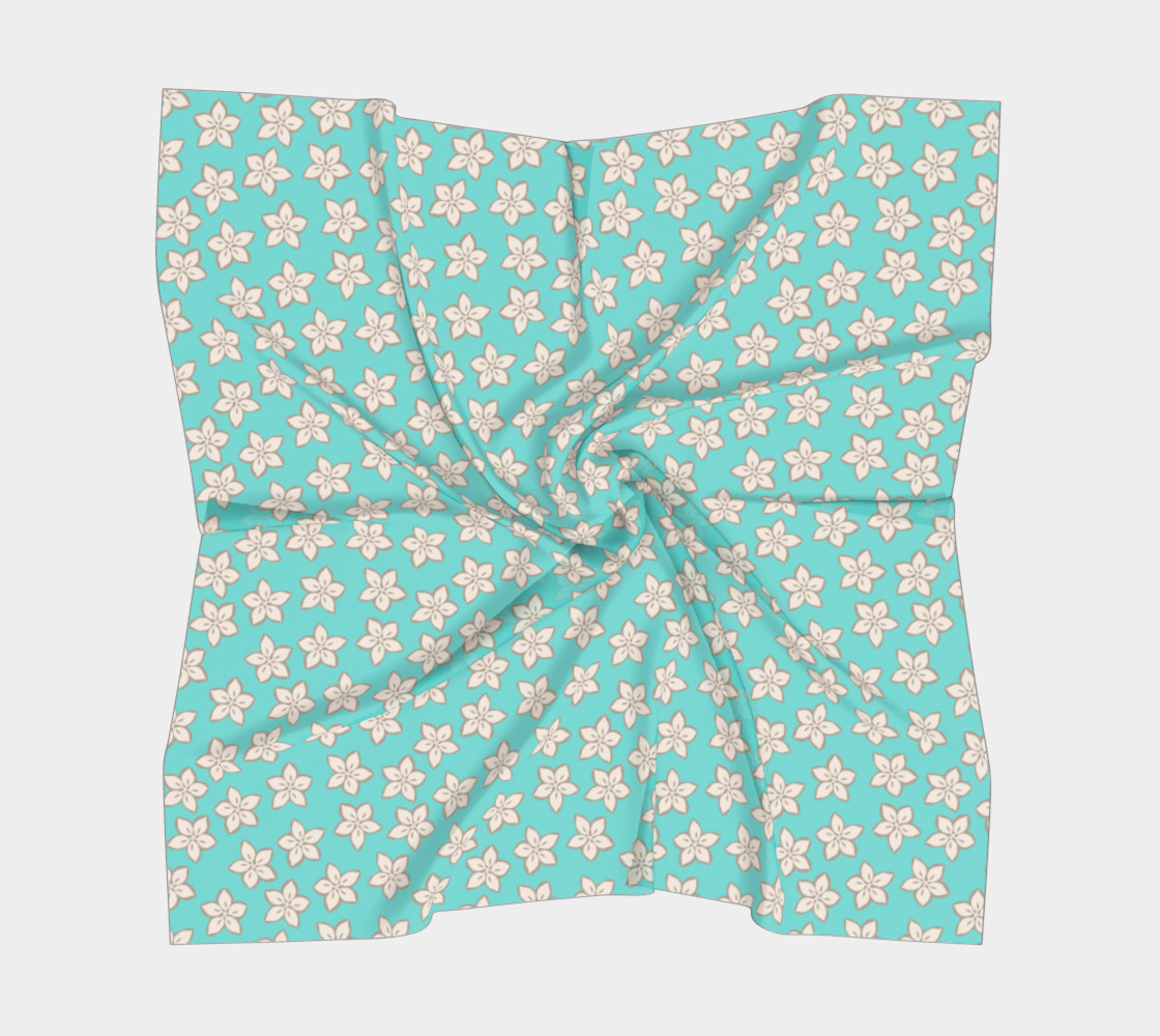Cream and Turquoise Floral Print preview #5