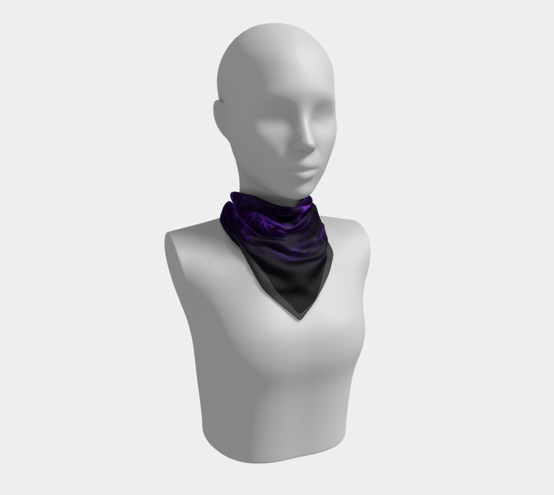 Purple Fractal on Black Square Scarf preview #1