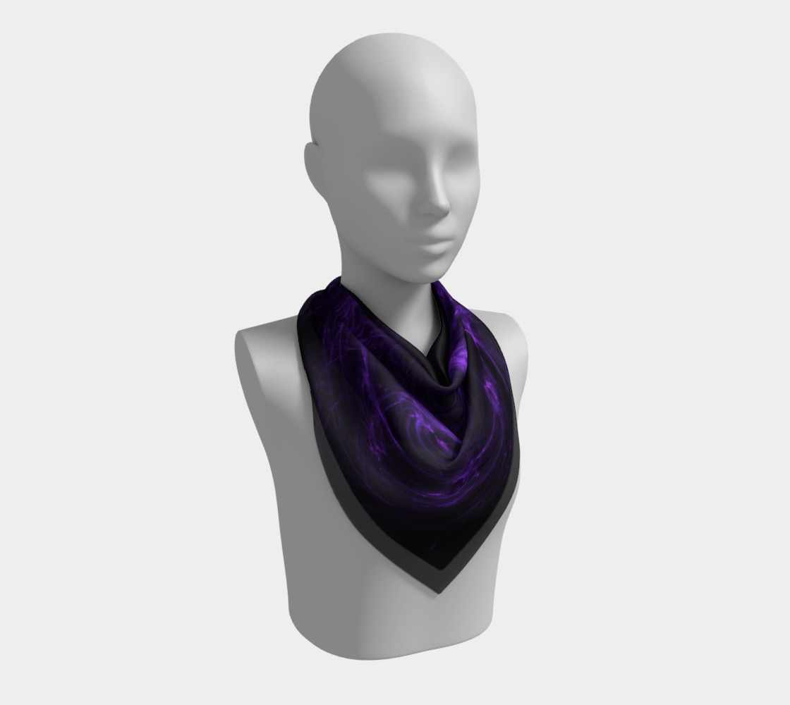 Purple Fractal on Black Square Scarf preview #2