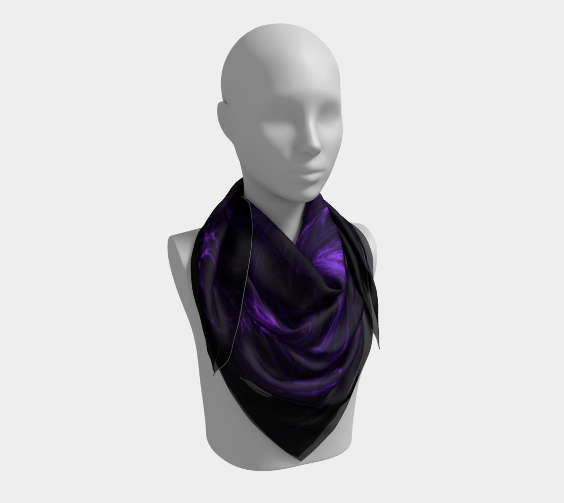 Purple Fractal on Black Square Scarf preview #3