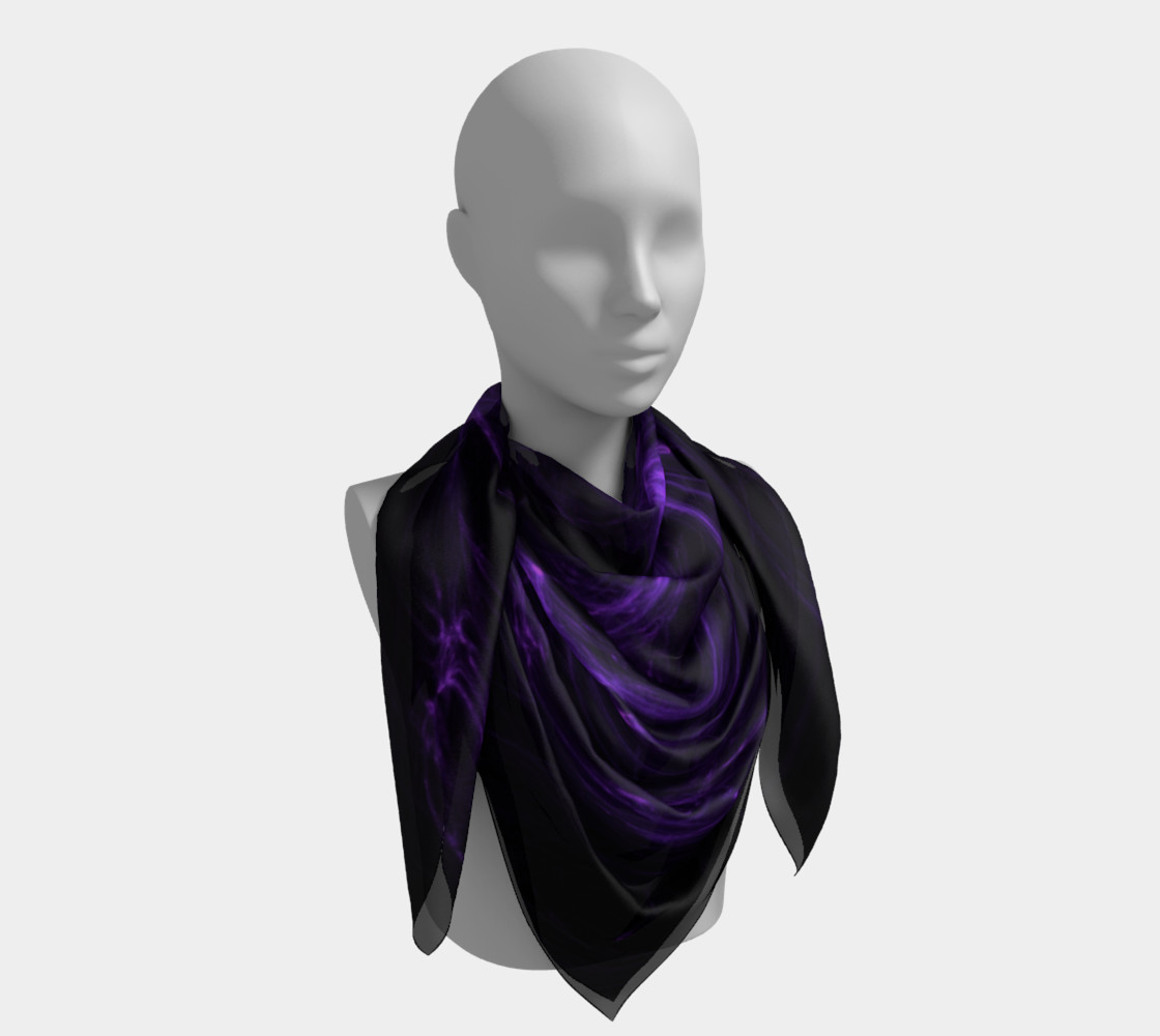 Purple Fractal on Black Square Scarf preview #4