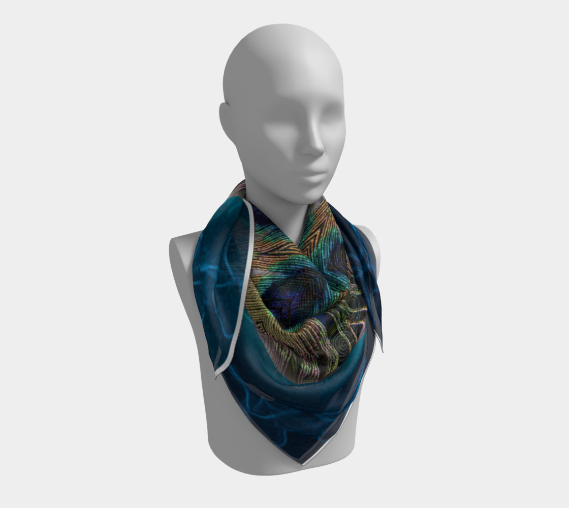 Peacock Power Silk Scarf preview #3
