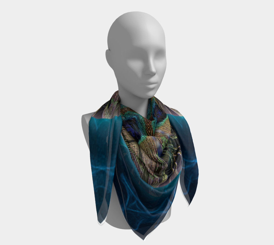 Peacock Power Silk Scarf preview #4