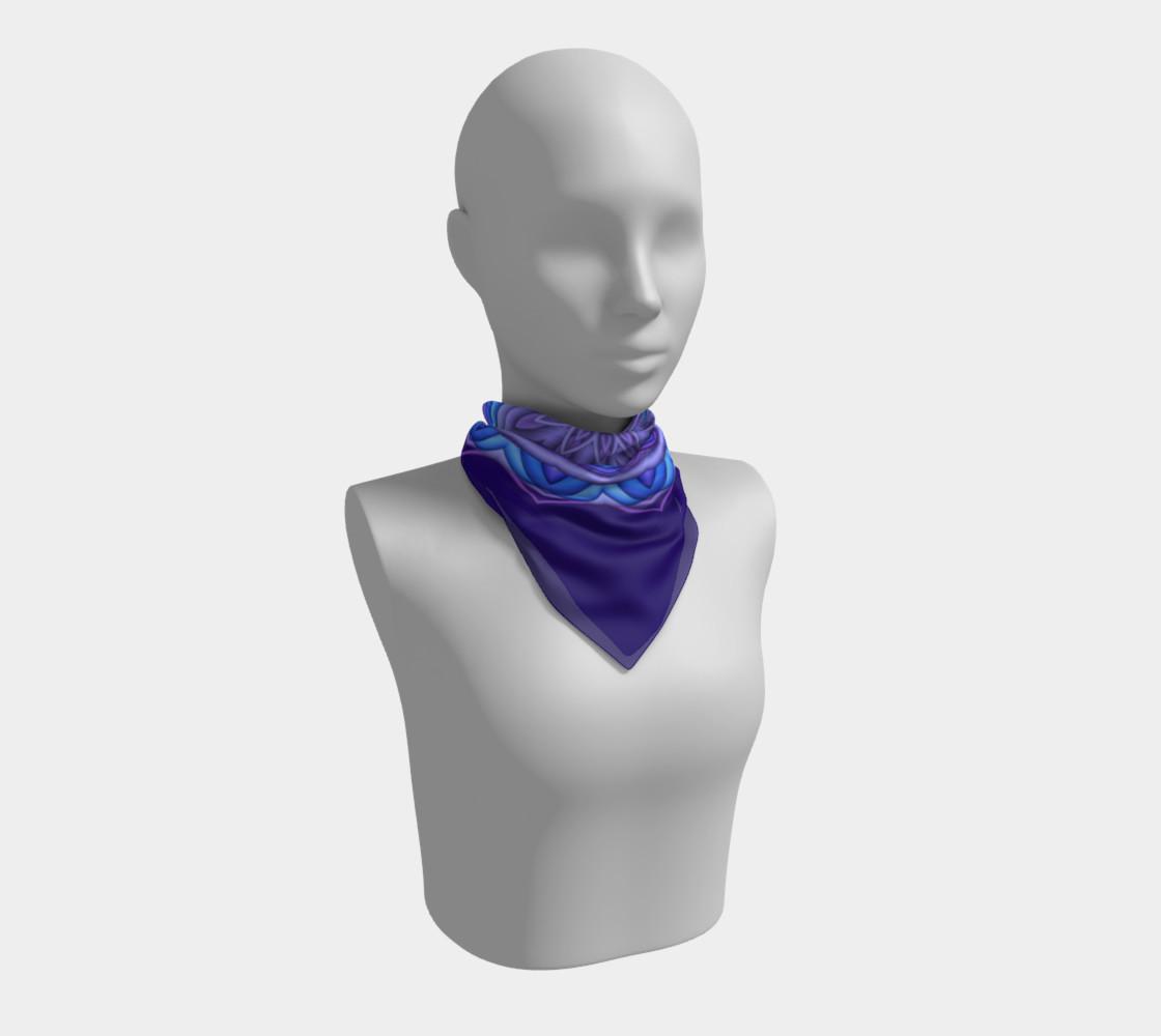 Blue & Purple Geometric Flower Medallion Square Scarf preview #1