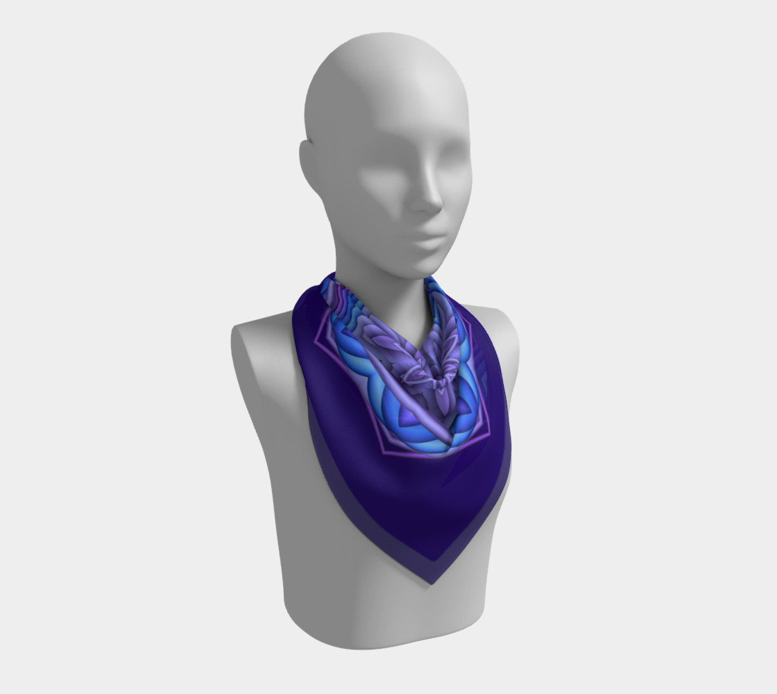 Blue & Purple Geometric Flower Medallion Square Scarf preview #2