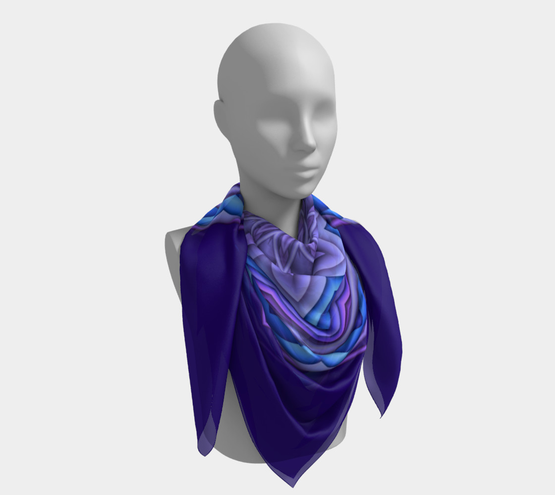 Blue & Purple Geometric Flower Medallion Square Scarf preview #4